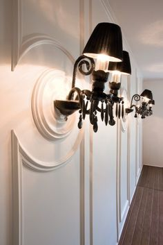 Decor panel mouldings and ceiling rose mounted to wall as light fitting! More inspirational ideas on www. Decor, Flexible Molding, Interior, Molding Installation, Dado Rail, Orac Decor, Exterior Decor, Wall Paneling, Decorative Wall Panels