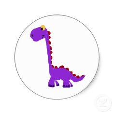Funny Purple Dinosaur Primitive Art Round Stickers #dinosaurs #funny #stickers #art #primitive #gifts #zazzle #petspower