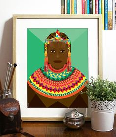 African Beauty Collection Green Poster