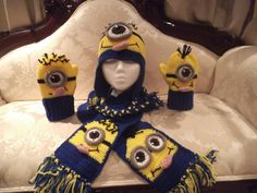 """Minion"" Inspired Hat, Mitt, Scarf Set - Crochet creation by Craftybear"