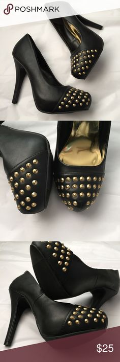 Gold stud black Heels! Olsenboye black heels with gold tone metal studs! Great condition! size 9.5.  5 inch heel. Hidden platform 1 inch. Olsenboye Shoes Heels