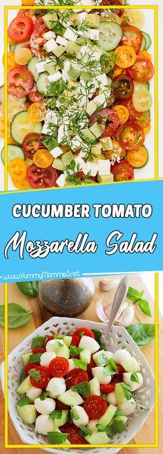 Cucumber Tomato Mozzarella Salad Via #yummymommiesnet #healthyrecipes healthy recipes #recipeoftheday recipe of the day #recipeideas recipe ideas #comfortfood comfort food recipes #paleo paleo #glutenfree gluten free recipes