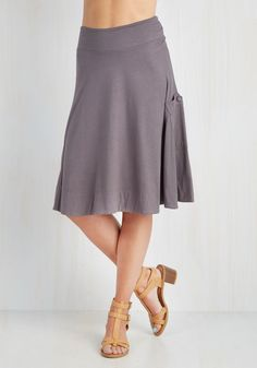 At the Racquet of Dawn Skirt in Stone. After rising with the sun, you scored a front-row seat at today's tennis tournament, dressed fabulously in this stone-grey skirt! #grey #modcloth