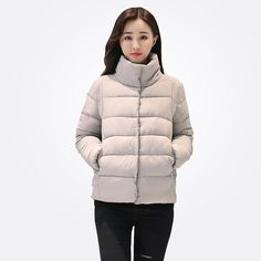 c7aa59915e Women Winter Coat Slim Simply Style Stand Collar Short Jacket Long Sleeve  Parkas in Clothing