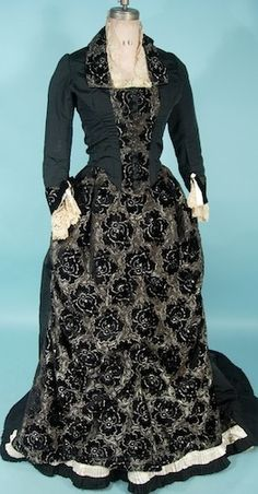 c. 1880's Lovely Silk Soft Black Cut Velvet 2-piece Trained Gown with Handmade Ivory Lace Trim Antique Dress