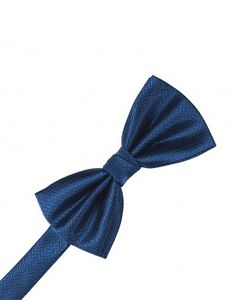 Sapphire Herringbone Bow Tie
