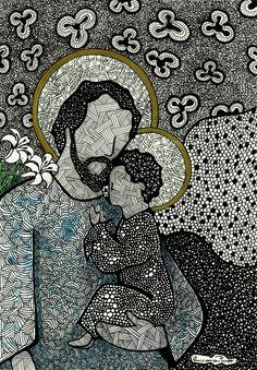 St Joseph (by Luciana Pupo, Brazil), associated with Osanyin/Osain in Cuba. Native Art, Spiritual Art, Art, St Joseph, Catholic Art, Christian Art, Sacred Art, Zen Art, Interesting Art