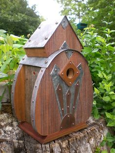 Radio 2: Art Deco Birdhouse Made Of Reclaimed Barn Wood And Tin Roofing--made To…