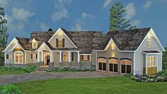 <ul><li>Stone, siding and cedar shakes blend beautifully together to create a unique look for this rustic ranch style home plan. The full front porch is ideal for peaceful evenings. Inside, the heart of the impressive ranch can be found the open layout of the great room, casual dining room and extensive kitchen, boasting an 8'x4' foot island. The central area features a 2-story stone fireplace with floating wood beams in the two story ceiling.</li><li>Situ...
