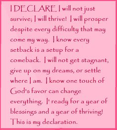 "I DECLARE I will not just survive; I will thrive!... Day #25  ""I Declare: 31 Promises to Speak Over Your Life"" by Joel Osteen"