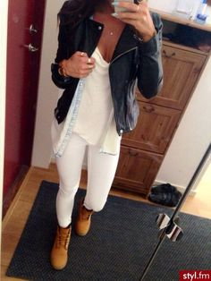 White Pants with White Shirt and Black Leather Jacket