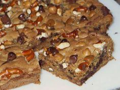 LADIES ONLY Take Me Away (PMS) Bars  Ingredients:  2 cups all-purpose flour 1 tsp. baking soda 1/2 tsp. salt 3/4 cup butter, softened 1 cup brown sugar 1/2 cup sugar 2 eggs 1 Tbsp. vanilla 1 1/2 cups semi-sweet or milk chocolate chips, divided 2 cups coarsely chopped pretzels, divided 1/2 cup chopped peanuts 1/4 cup peanut butter or butterscotch chips