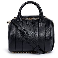 Alexander Wang 'Rockie' pebbled leather duffle bag (12.478.395 IDR) ❤ liked on Polyvore featuring bags, handbags, black, alexander wang, studded purse, black studded handbag, black studded bag and duffel bags