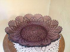 "Vintage Fan Diamond Amethyst Purple Large Pressed Glass Bowl 11"" | eBay"