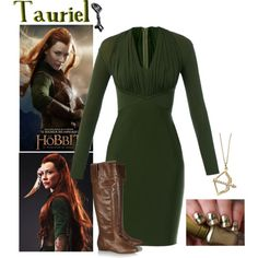 Tauriel Inspired by xylona on Polyvore featuring Hervé L. Leroux, Chloé, KC Designs, hobbit, elven and tauriel