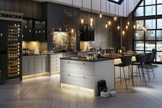17 Charming Kitchen Lighting Ideas (to State Your Room Nuance), Home Decor, Not only the lighting will be a perfect complement to your existing kitchen, nowadays the lighting fixtures will also be a gorgeous decorative element. Kitchen Without Island, Kitchen Island Decor, Home Decor Kitchen, Interior Design Kitchen, U Shaped Kitchen Island, Country Kitchen Island, Kitchen Ideas, Kitchen Units, Kitchen Cabinetry