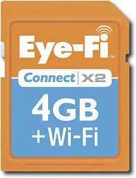 Wifi Camera Memory Card.. Your photos automatically download to your computer if wifi is available and your camera is within range. No need to travel with memory card cords!