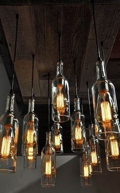 11 Wine Bottle Pendant Chandelier - Reclaimed Wood Wine Bottle Chandelier - Dining Room Lighting, Wine Bar Lighting, Restaurant Lighting - Eleven wine bottle pendant chandeliers with an old wood base. One of a kind designed exclusively by - Wine Bottle Chandelier, Pendant Chandelier, Wine Bottle Lighting, Pendant Lights, Wine Bottle Lamps, Diy Bottle Lamp, Bottle Bottle, Bottle Carrier, Bottle Labels