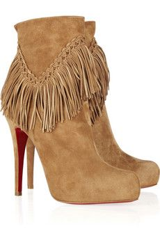 christian louboutin leather fringe-trimmed booties