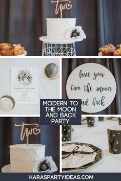 Modern Moon & Back Birthday Party Kara's Party Ideas Modern Moon & Back Birthday Party 50th Birthday Party Decorations, Boy Birthday Parties, Birthday Ideas, Birthday Crafts, 5th Birthday, Outer Space Party, Festa Party, Party Party, Party Ideas