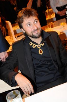 November 2014 - Francesco Vezzoli wearing a one of a kind 18K Yellow Gold Buccellati Necklace with Citrines and Amethysts for the 10 Years of Performa, in @wmag