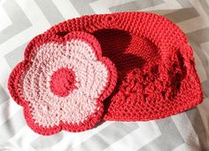 Cute Crochet Little Kids Hat  Ruby Red Hat with a by willowbeshop, $15.00