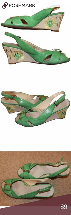 "Adorable Floral Wedged Aerosoles These green floral wedges are so cute! The heel measures a tad over 3"". They were worn a handful of times, but are in great shape. They are size 9M by Aerosoles. AEROSOLES Shoes Wedges"