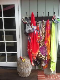 outdoor hooks for summer- love these! Duh! Put hooks under the carport next to the outdoor shower!