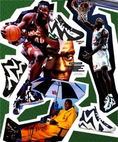 "Shawn ""The Reignman"" Kemp Basketball Design, Sports Basketball, Basketball Shoes, Vintage Sneakers, Classic Sneakers, Nike Ad, Nba Season, Slam Dunk, Cool Backgrounds"