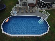 Check our latest work Patio, House Deck, Paver Patio, Pool deck and Railing Above Ground Pool Landscaping, Above Ground Pool Decks, Backyard Pool Landscaping, Backyard Pool Designs, Above Ground Swimming Pools, In Ground Pools, Landscaping Ideas, Wood Pool Deck, Pool Deck Plans