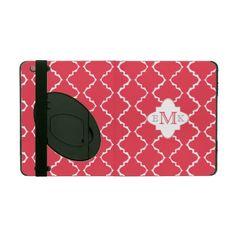 Elegant Quatrefoil Monogram -  Rose Red White iPad Cases