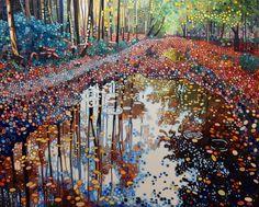 'Woodland reflections' acrylic on canvas 60x80cm, Ewa Adams