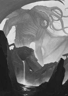 Cthulhu Rising by David Franco Campos Hp Lovecraft, Lovecraft Cthulhu, Cthulhu Art, Call Of Cthulhu, Cthulhu Tattoo, Arte Horror, Horror Art, Dark Fantasy Art, Lovecraftian Horror