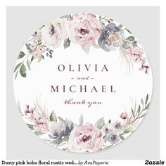 Shop Dusty pink boho floral rustic wedding classic round sticker created by AvaPaperie. Muslim Wedding Cards, Wedding Tags, Wedding Events, Flower Background Wallpaper, Flower Backgrounds, Flower Png Images, Sweet Wedding Favors, Furoshiki, Cute Sun