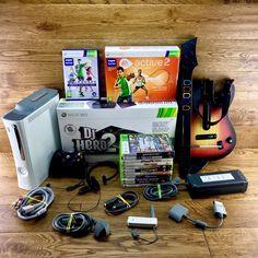 xbox 360 bundle 12 games Active 2 Dj Hero 2 Guitar Headset Network Adaptor GTA 5 Gta 5, Xbox 360, Headset, Console, Dj, Guns, Guitar, Hero, Headphones