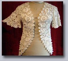 Edwardian Irish Crochet Crocheted Lace Jacket, Tightly Worked, 3D~ c. 1909-15