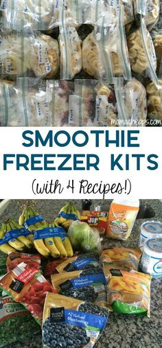 Smoothie Freezer kits are easy to make and work great for a healthy meal in a pinch!! Here's how to make them + 4 easy recipes to try! https://www.mamacheaps.com/2015/01/smoothie-freezer-kits-4-recipes.html