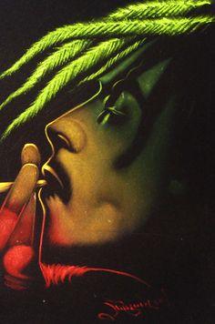 Bob Marley Smoking Weed | Bob Marley smoking weed joint with Skull Skeleton, Original Oil ...
