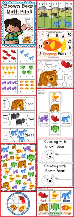 Brown Bear Math Pack - 13 fun activities to cover shapes, numbers, graphing, counting and positional words!