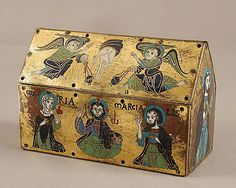 Chasse of Champagnat, ca. 1150. Made in Limoges, France Medium: Copper: engraved and gilt; champlevé enamel: blue-black, medium blue, turquoise, green, red, and white  Dimensions: Overall (Chasse): 4 7/8 x 7 7/16 x 3 3/8 in. (12.4 x 18.9 x 8.5 cm) Overall (Plaque): 2 3/4 x 7 7/16 x 1/16 in. (7 x 18.9 x 0.2 cm)  Accession Number: 17.190.685–87, .695, .710–711 The Metropolitan Museum of Art