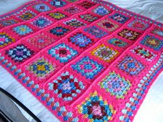Crochet Afghan Blanket Granny Squares Pink Crochet by Thesunroomuk