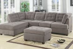 Our 3 piece sectional sofa with reversible chaise features a soft microfiber with tufted button detail on both back cushions and seat cushions. Hardwood frame with detachable legs along with hardware