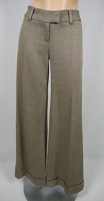 DIANE VON FURSTENBERG DVF Kathlene Herringbone Pants 2 Combo Wool Silk Wide Hem