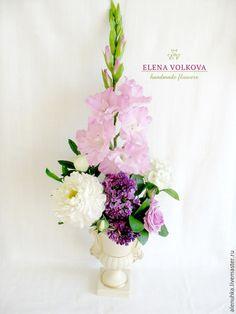 """Купить Букет с гладиолусом """"Жизнь - Полная чаша!"""" - цветы из полимерной глины, цветы ручной работы"""