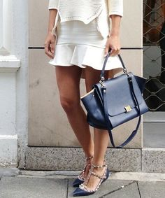 White Fluted skirt and Valentino rockstuds