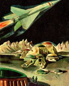 Outer-Space theme Vintage 1950's art (by Armand) The Science Fiction Gallery Art Tumblr