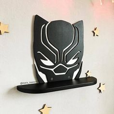 shelf Black Panther DIMENSIONS: Height- 232 mm inches) width- 300 mm inches) depth: 70 mm inches) If you need a different size or color, i can do it)) Ideal for children or fans of comic book characters. You can hang it on the wall for examp Geek Decor, Wooden Shelves, Wall Shelves, Boy Room, Kids Room, Marvel Room, Laser Cutter Projects, Wood Store, Wooden Projects
