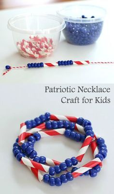 Easy Patriotic Craft for Kids: American Flag Necklace and/or Bracelet Craft using pony beads and straws! Perfect for the of July! 4th July Crafts, Patriotic Crafts, Fourth Of July Crafts For Kids, Patriotic Party, Summer Crafts, Holiday Crafts, Holiday Fun, 4th Of July Party, July 4th