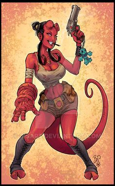 Hellgirl by Chris Regnault on ArtStation. Comic Character, Character Concept, Character Design, Comic Books Art, Comic Art, Evvi Art, Hell Girl, Comics Girls, Fantasy Girl