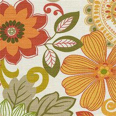 This is an orange green and red cotton floral drapery fabric by Swavelle Mill Creek Fabrics, suitable for any decor in the home.  Perfect for pillows, drapes and bedding.